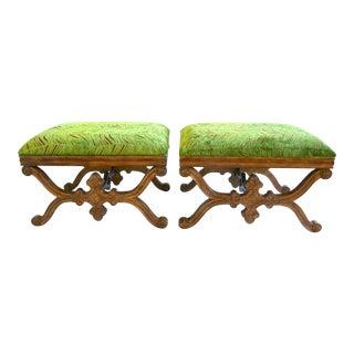 Vintage Green Velvet Benches - a Pair