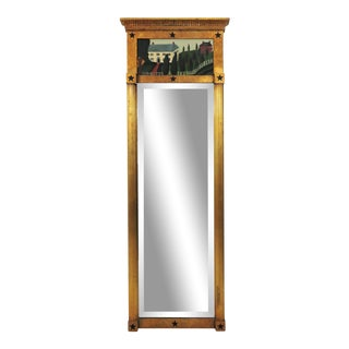 Vintage Federal Style Gold Rectangular Hand Painted Wall Mirror For Sale
