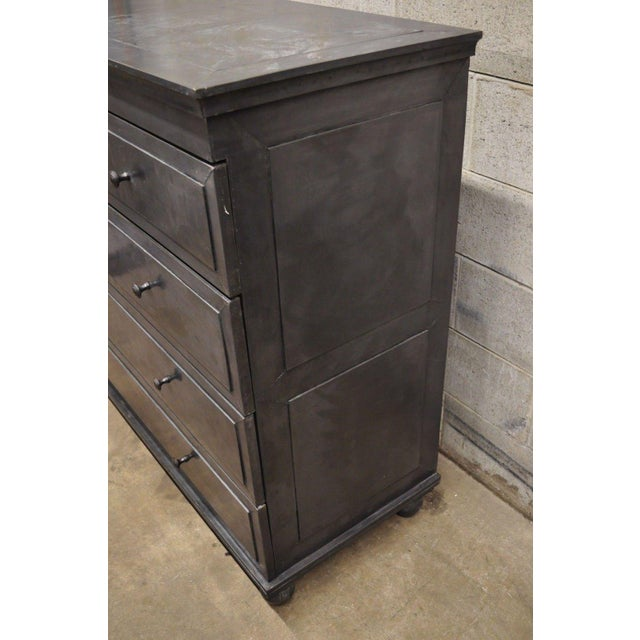 Restoration Hardware Annecy Metal Wrapped Zinc A 5 Drawer Chest Dresser For Sale - Image 10 of 11