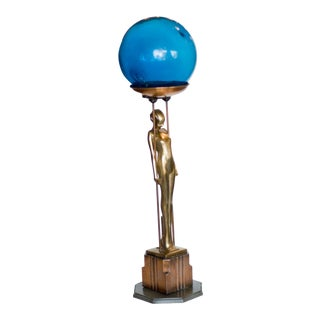 """Frankart Brass and Copper """"Sarcophagus Girl"""" Ashtray Stand For Sale"""