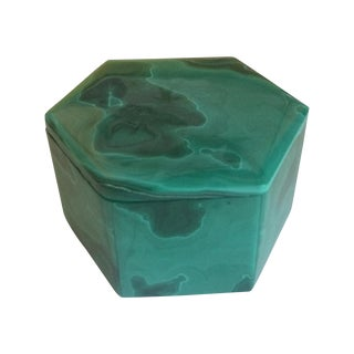 Hexagonal Malachite Box For Sale