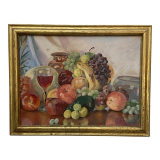 Vintage Still Life Oil Painting of Fruit For Sale