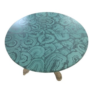 Faux Malachite Hand Painted Table Top For Sale