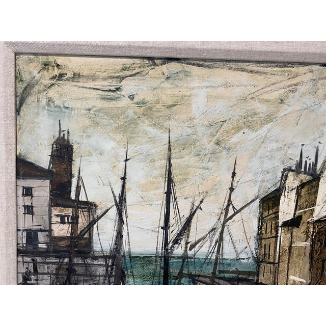 Charles Levier Mid-Century Modern Charles Levier Painting of French Port Scene With Boats For Sale - Image 4 of 12