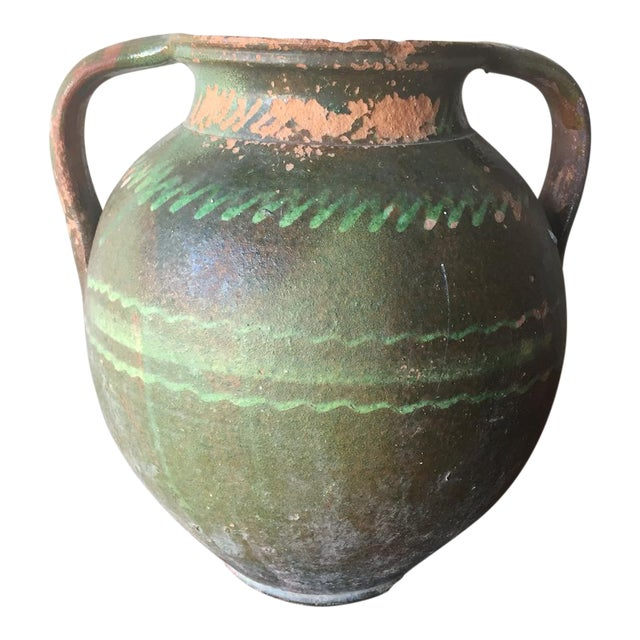 Green Tuscan Pot with Handles For Sale