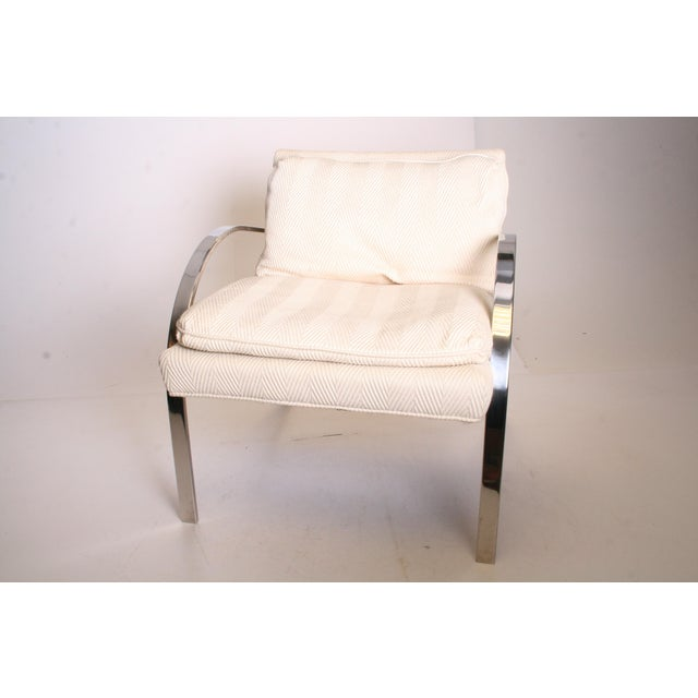 Bernhardt Vintage Chrome Upholstered Arm Chair by Bernhardt Flair For Sale - Image 4 of 11