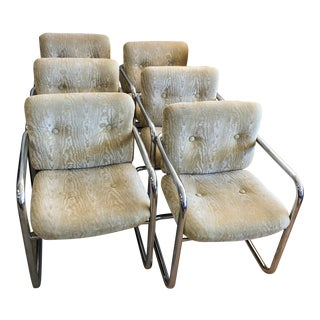 1970s Mid Century Modern Chrome Cantilever Dining Chairs - Set of 6 For Sale