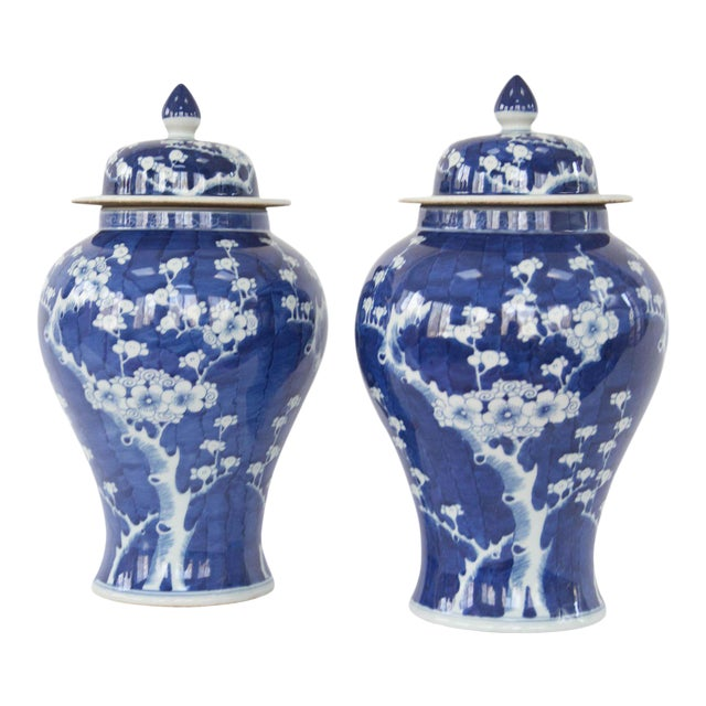 Blue & White Cherry Blossom Temple Jars - A Pair For Sale