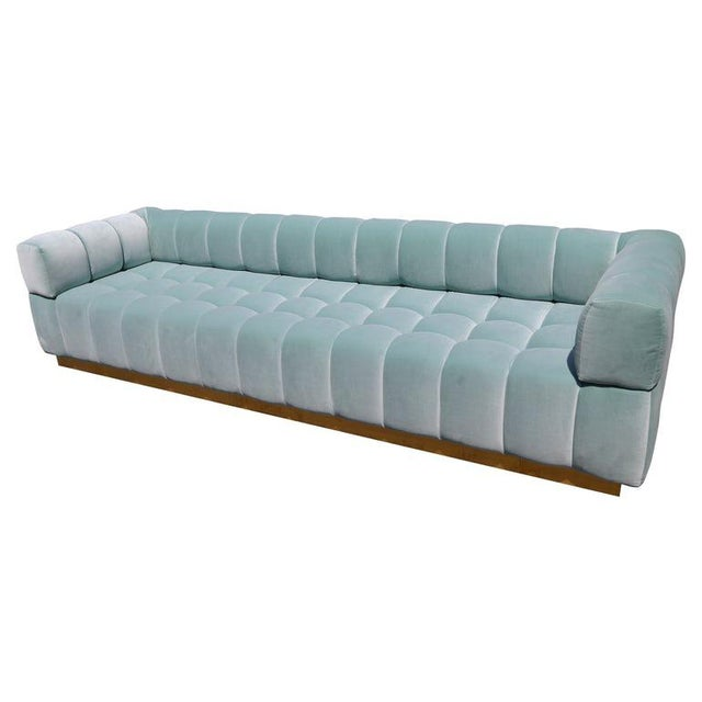 Metal Adesso Imports Custom Tufted Aqua Blue Velvet Sofa With Brass Base For Sale - Image 7 of 7