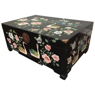 Mid Century Asian Chinoiserie Hand Painted Trunk For Sale