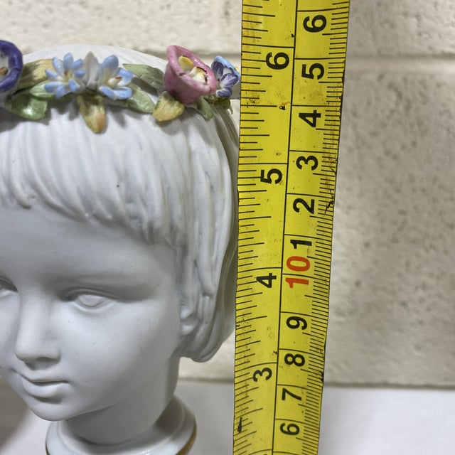 Petite Capodimonte Porcelain Boy Girl Busts - a Pair For Sale - Image 10 of 13