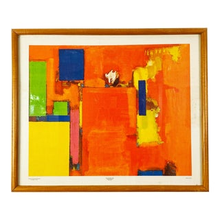 """1990s Hans Hoffman """"The Golden Wall' Screenprint on Canvas For Sale"""