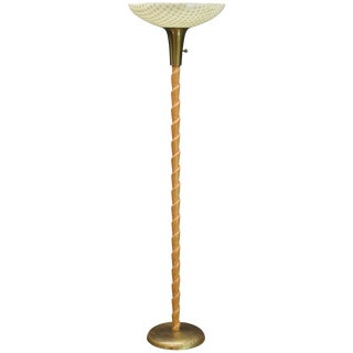 Art Deco Fiberglass and Twisted Cerused Oak Brass Torchiere Floor Lamp For Sale