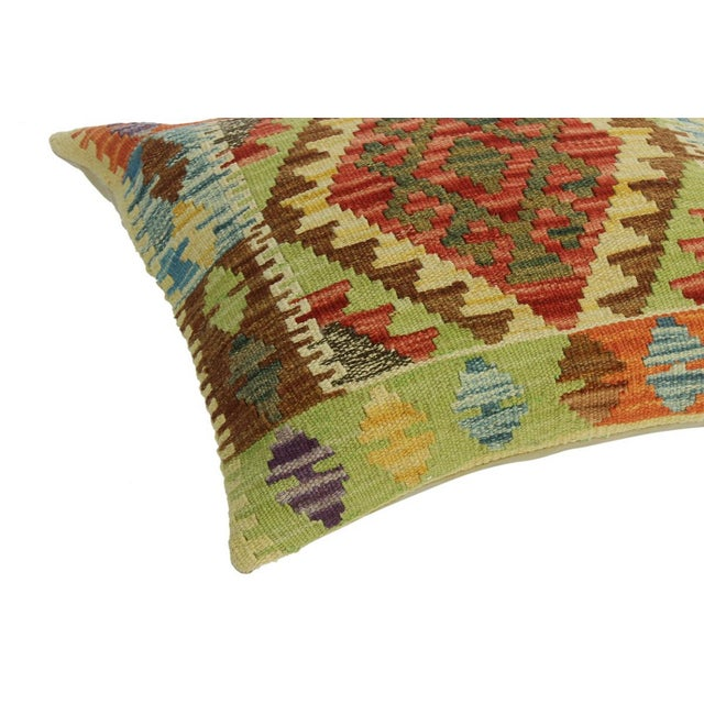 "Asian Classie Lime Green/Brown Hand-Woven Kilim Throw Pillow(18""x18"") For Sale - Image 3 of 6"