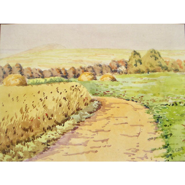This is a bright, charming landscape painting of agricultural California. The piece is signed H. Cook, l.r. Watercolor...