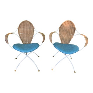 Tempestini Salterini Sculptural Wicker and Iron Chairs - a Pair For Sale