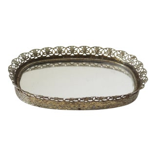 Vintage Filigree Mirror Tray For Sale