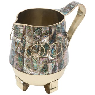 Abalone and Brass Pitcher or Vase or Object 1960's For Sale