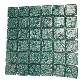 Boho Chic Designer Foil Glass Decorator Bath Accent Tiles - Set of 36 For Sale