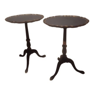 Vintage Navy & Gold Pie Crust Tables - A Pair