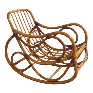 Bamboo Franco Albini Style Rocking Chair For Sale