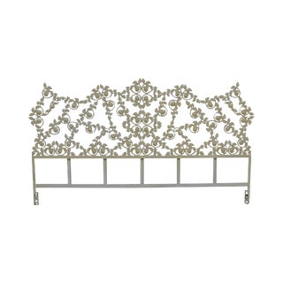 Custom Vintage Painted Wrought Iron Rose Flower King Headboard