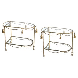 A Chic Pair of Italian Mid-Century Hollywood Regency Gilt-Tole Drinks-Bar Carts With Glass Shelves For Sale