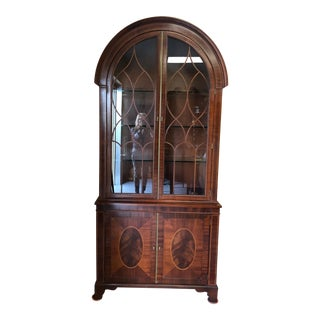 1990s Traditional Baker Historic Charleston Arch Top China Cabinet Breakfront For Sale