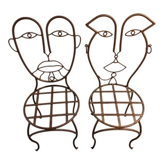 John Risley Wrought Iron Picasso Style Chairs - a Pair For Sale