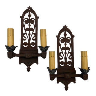 "Early 20th Century Pair 15"" Vintage Double-Arm Cast Iron Sconces For Sale"