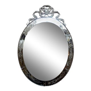 Large Antique Oval Etched Venetian Mirror With Bow For Sale