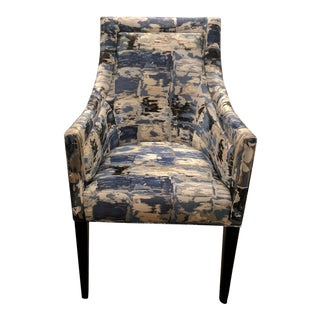 Contemporary Print Silk and Linen Accent Chair
