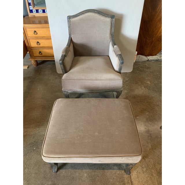 Brown Transitional Style Lucille Club Chair & Ottoman For Sale - Image 8 of 8