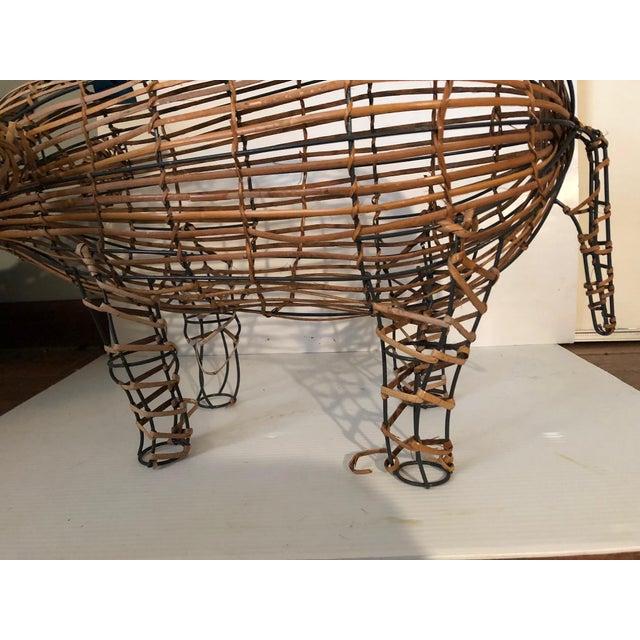 Brown Vintage Wicker Decorative Pig Metal Art For Sale - Image 8 of 9