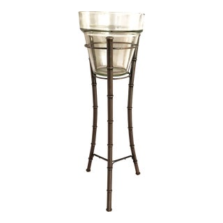 20th Century Hollywood Regency Faux Bamboo Stand with Wine Chiller For Sale