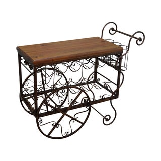 Ornate Scrolled Metal Bar Cart Server W/ Wood Top