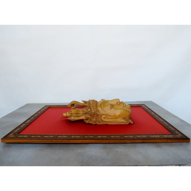 Thai Mounted Buddha Wood Carving For Sale - Image 4 of 10