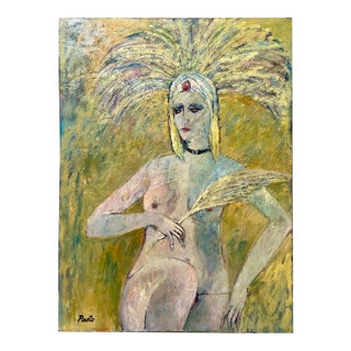 Vintage Nude Showgirl Painting by Sammy Pasto For Sale