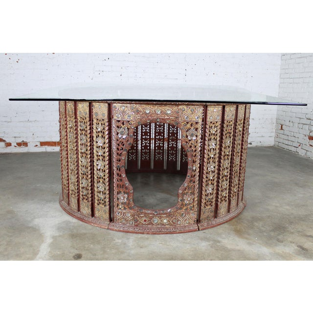 Antique Burmese Orchestral Hsain Wain Drum Circle Carved Panel Table - Image 4 of 11