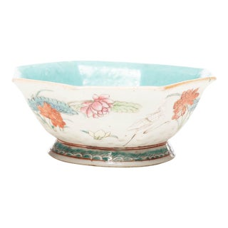 18th Century Octagonal Chinese Famille Rose Bowl For Sale