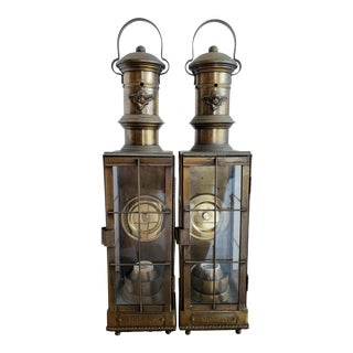 Mid-Century Reproduction Oil Burning Lanterns Electrified - a Pair For Sale