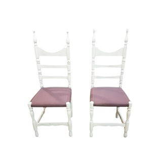Set of Two Shabby Chic Vintage French Country White Oak High Ladder Back Dining Chairs For Sale