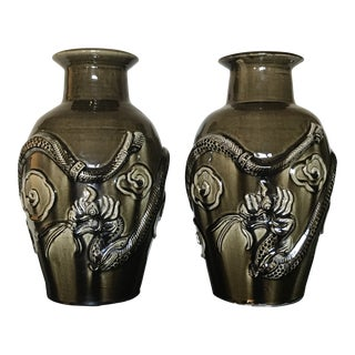 Large Asian Mid-Century Dragon Vases - a Pair For Sale
