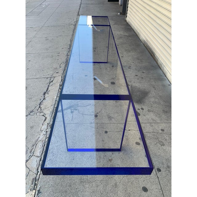 Custom Bench in Deep Blue and Clear Lucite by Cain Modern For Sale - Image 4 of 13