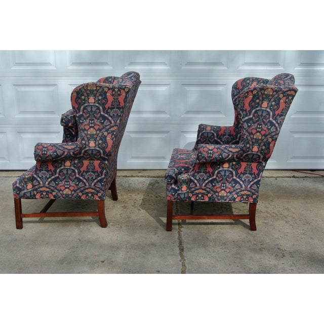 Hollywood Regency 1970s Vintage Wingback Upholstered Chairs- A Pair For Sale - Image 3 of 11