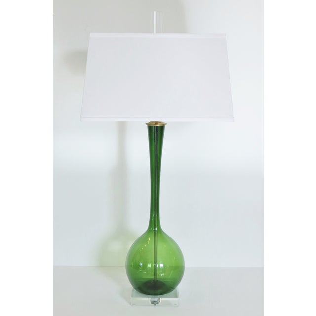 Vintage Deep Emerald Glass Lamp - Image 2 of 5