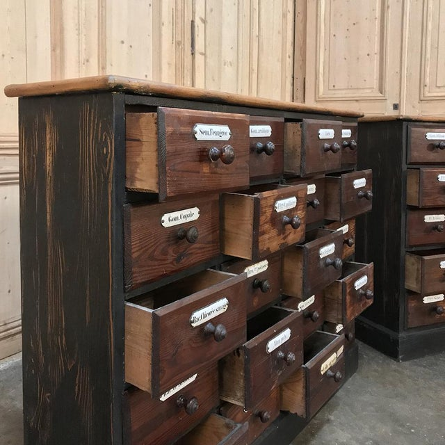 Wood Antique French Pharmacy Cabinets With Original Enamelled Labels - a Pair For Sale - Image 7 of 12
