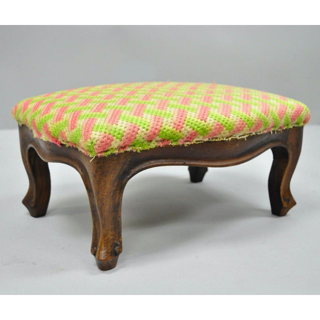Early 20th Century Antique Louis XV Style Walnut Footstool For Sale - Image 12 of 12