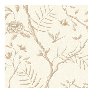Lewis & Wood Jasper Peony Mocha Botanic Style Wallpaper Sample For Sale