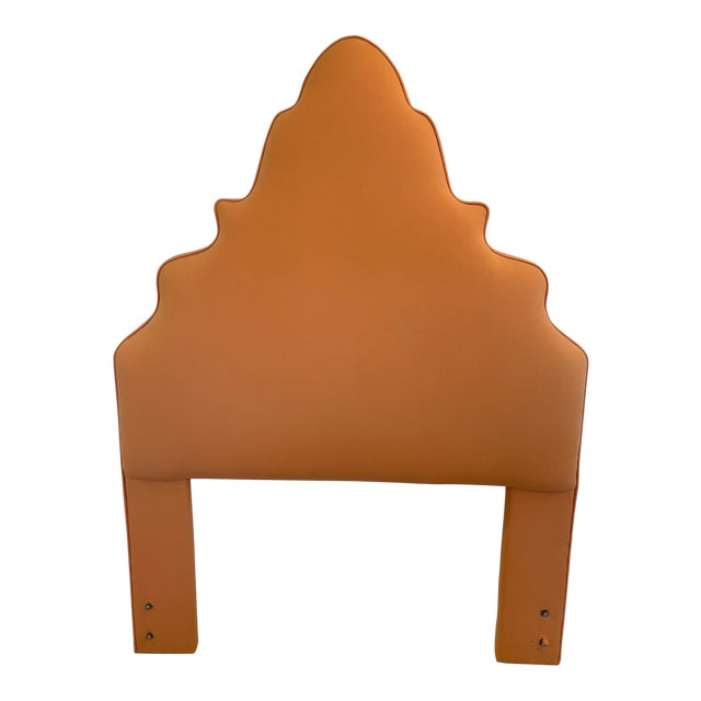 Pagoda Shaped Upholstered Twin Headboard For Sale